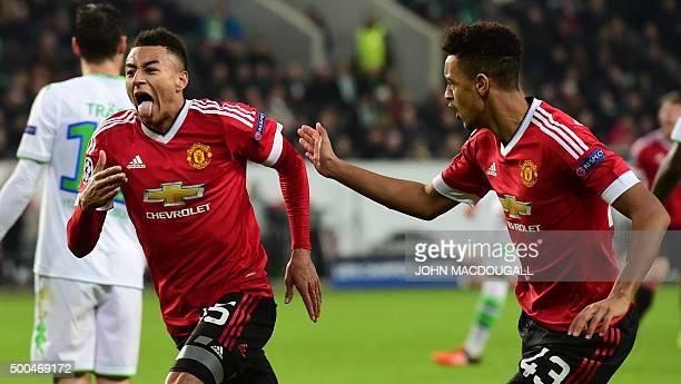 Manchester United's English midfielder Jesse Lingard and Manchester United's English defender Cameron BorthwickJackson react during the UEFA...