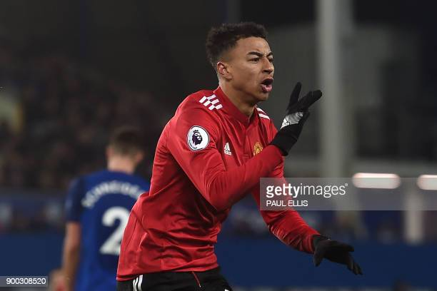Manchester United's English midfielder Jesse Lingard celebrates scoring the team's second goal during the English Premier League football match...