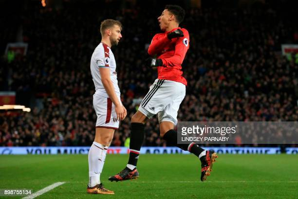 Manchester United's English midfielder Jesse Lingard celebrates scoring their first goal during the English Premier League football match between...