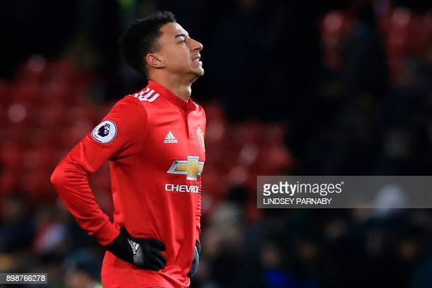 Manchester United's English midfielder Jesse Lingard reacts after the final whistle during the English Premier League football match between...