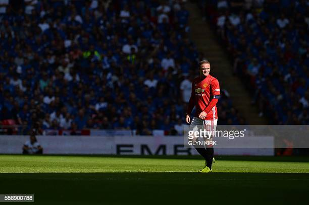 Manchester United's English striker Wayne Rooney plays during the FA Community Shield football match between Manchester United and Leicester City at...
