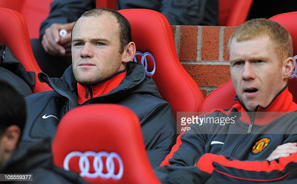 Manchester United's English striker Wayne Rooney starts the match on the substitutes bench for the English Premier League football match between...