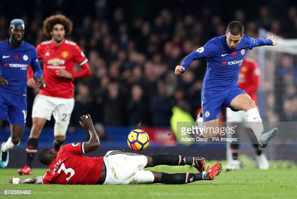 Manchester United's Eric Bailly and Chelsea's Eden Hazard battle for the ball during the Premier League match at Stamford Bridge London