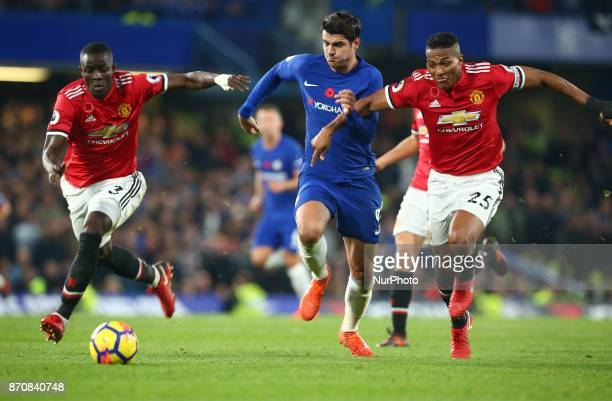 LR Manchester United's Eric Bailly Chelsea's Alvaro Morata and Manchester United's Luis Antonio Valencia during the Premier League match between...