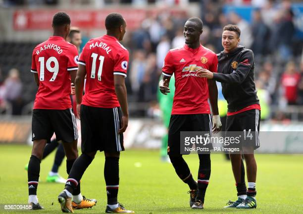 Manchester United's Eric Bailly Jesse Lingard Marcus Rashford and Anthony Martial after the game