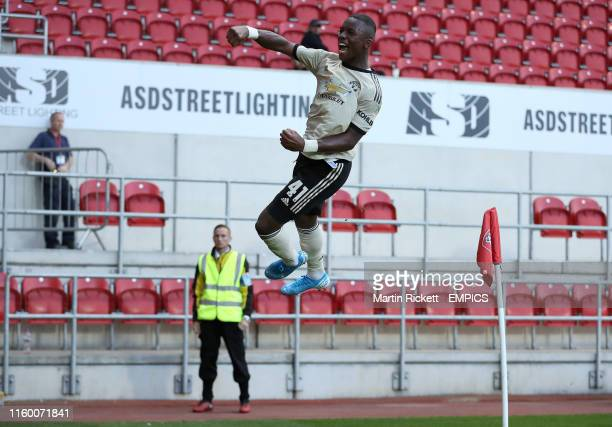 Manchester United's Ethan Laird celebrates scoring his side's first goal of the game Rotherham United v Manchester United U21 EFL Trophy AESSEAL New...