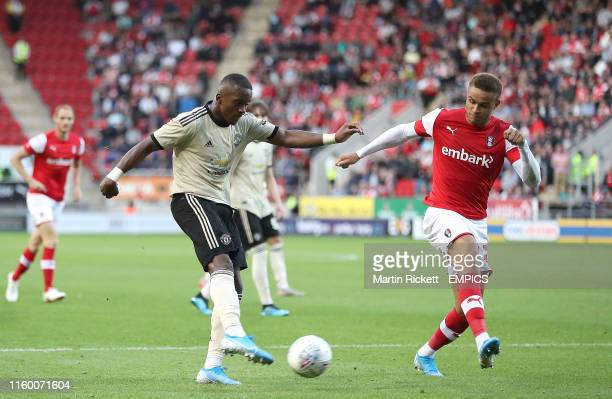 Manchester United's Ethan Laird scores his teams 1st goal against Rotherham United Rotherham United v Manchester United U21 EFL Trophy AESSEAL New...