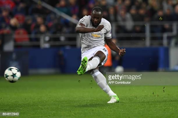 Manchester United's forward from Belgium Romelu Lukaku shoots the ball during the UEFA Champions League Group A football match between PFC CSKA...