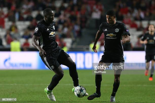 Manchester Uniteds forward Marcus Rashford from England and Manchester Uniteds forward Romelu Lukaku from Belgium during the match between SL Benfica...