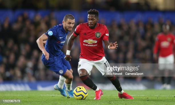 Manchester United's Fred and Chelsea's Mateo Kovacic during the Premier League match between Chelsea FC and Manchester United at Stamford Bridge on...