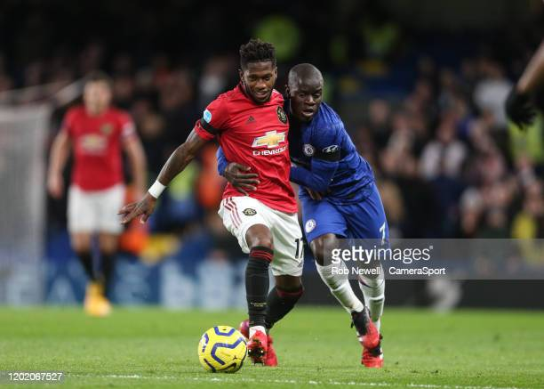 Manchester United's Fred and Chelsea's Ngolo Kante during the Premier League match between Chelsea FC and Manchester United at Stamford Bridge on...