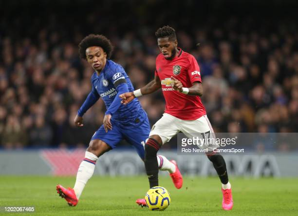 Manchester United's Fred and Chelsea's Willian during the Premier League match between Chelsea FC and Manchester United at Stamford Bridge on...
