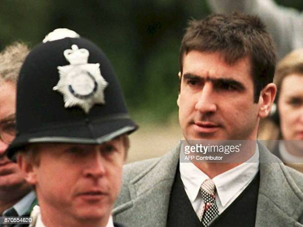 Manchester United's French soccer star Eric Cantona arrives at Croydon Crown Court 31 March in London Cantona is in court to appeal his two week jail...