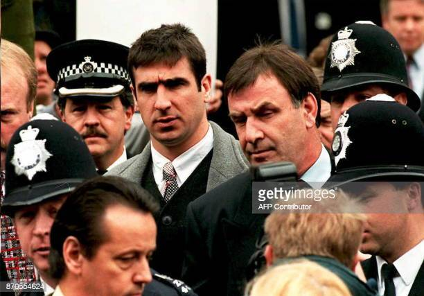 Manchester United's French soccer star Eric Cantona departs Croydon Crown Court in London 31 March after his appeal against a twoweekjail sentence...