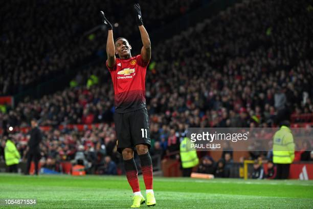 Manchester United's French striker Anthony Martial celebrates after scoring their second goal during the English Premier League football match...