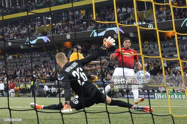 Manchester United's French striker Anthony Martial celebrates scoring his team's third goal past Young Boys Swiss goalkeeper David von Ballmoos...