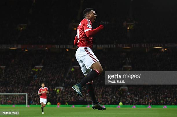 TOPSHOT Manchester United's French striker Anthony Martial celebrates scoring their second goal during the English Premier League football match...