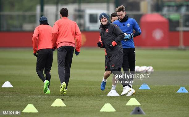 Manchester United's German midfielder Bastian Schweinsteiger attends a training session at their Carrington base in Manchester, northwest England, on...