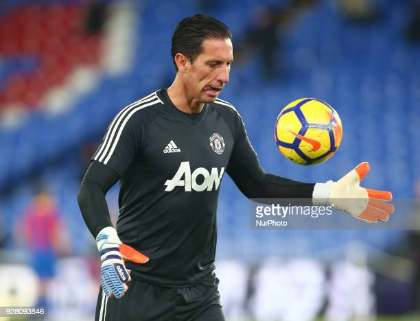 Manchester United's Goalkeeping coach Emilio Alvarez during the Premiership League match between Crystal Palace and Manchester United at Selhurst...