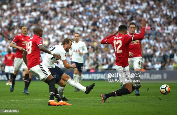 Manchester United's Harry Kane has his shot blocked during the Emirates FA Cup semifinal match at Wembley Stadium London