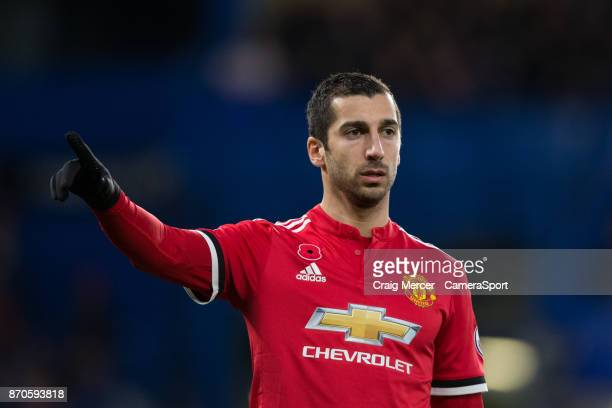 Manchester United's Henrikh Mkhitaryan during the Premier League match between Chelsea and Manchester United at Stamford Bridge on November 5 2017 in...