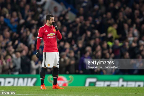 Manchester United's Henrikh Mkhitaryan looks dejected after his side concede the opening goal during the Premier League match between Chelsea and...