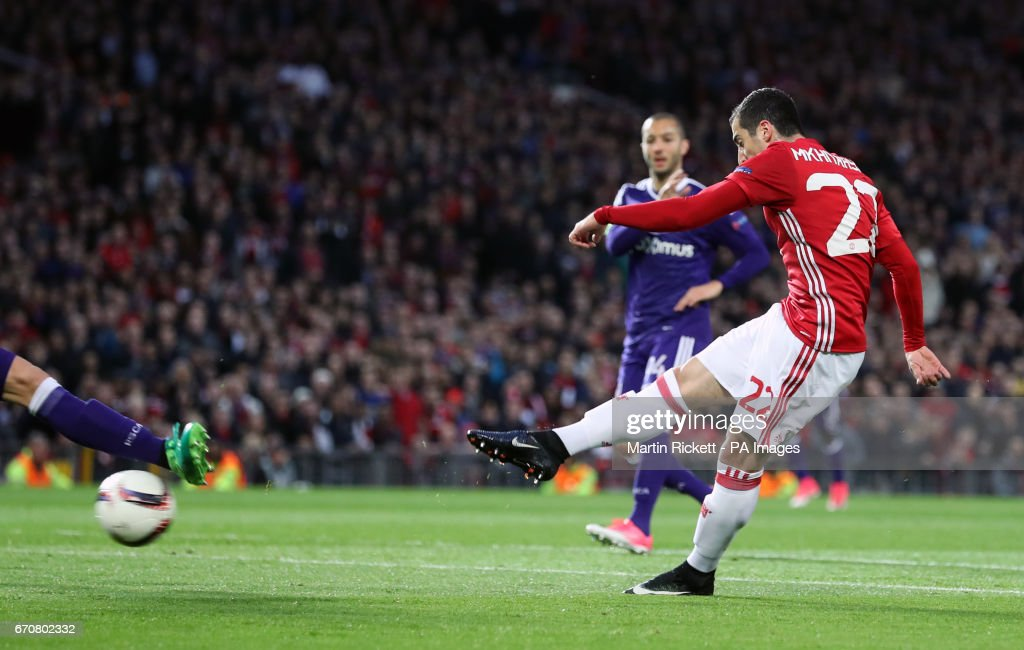 Manchester United's Henrikh Mkhitaryan scores his side's first goal of the game during the UEFA Europa League, Quarter Final match at Old Trafford, Manchester.