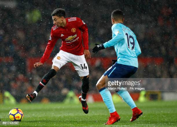 Manchester United's Jesse Lingard and AFC Bournemouth's Junior Stanislas battle for the ball during the Premier League match at Old Trafford...