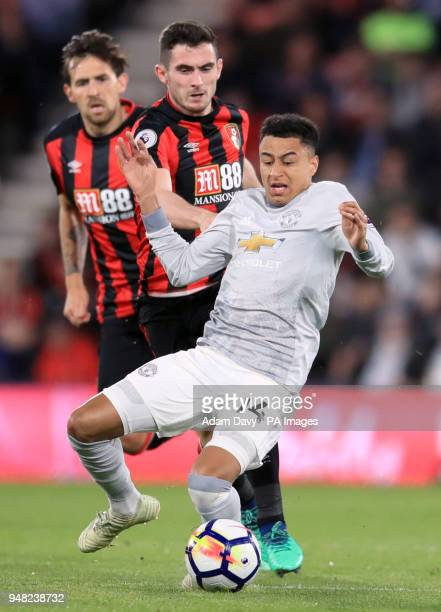 Manchester United's Jesse Lingard and AFC Bournemouth's Lewis Cook battle for the ball during the Premier League match at the Vitality Stadium...