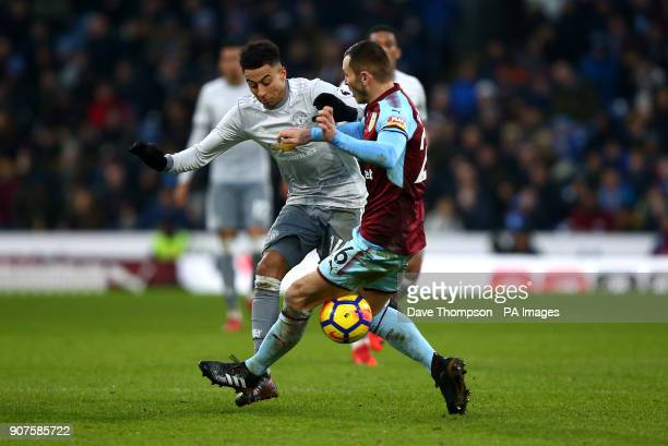 Manchester United's Jesse Lingard and Burnley's Phil Bardsley battle for the ball during the Premier League match at Turf Moor Burnley
