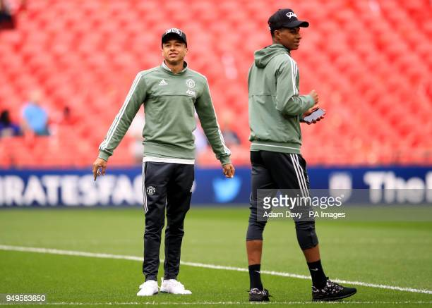 Manchester United's Jesse Lingard and Marcus Rashford check out the pitch ahead of the Emirates FA Cup semifinal match at Wembley Stadium London