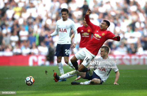 Manchester United's Jesse Lingard battle for the ball with Tottenham Hotspur's Eric Dier during the Emirates FA Cup semifinal match at Wembley...