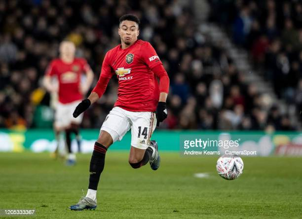 Manchester United's Jesse Lingard breaks during the FA Cup Fifth Round match between Derby County and Manchester United at Pride Park on March 5 2020...