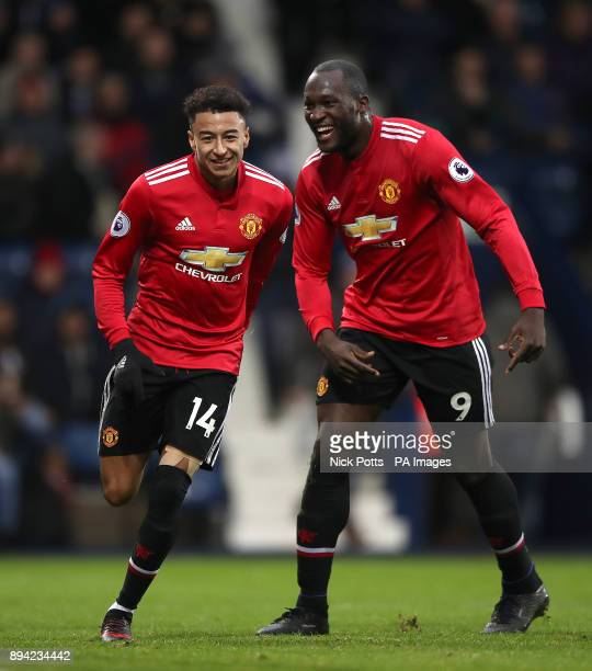 Manchester United's Jesse Lingard celebrates after scoring his side's first goal of the game with teammate Romelu Lukaku during the Premier League...