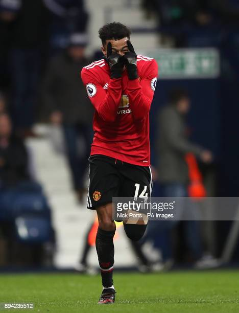 Manchester United's Jesse Lingard celebrates after scoring his side's first goal of the game during the Premier League match at The Hawthorns West...