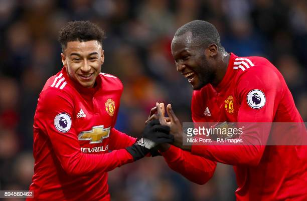 Manchester United's Jesse Lingard celebrates scoring his side's second goal of the game with teammate Romelu Lukaku
