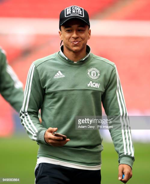 Manchester United's Jesse Lingard checks out the pitch ahead of the Emirates FA Cup semifinal match at Wembley Stadium London
