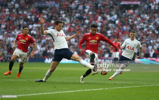 Manchester United's Jesse Lingard is challenged by Tottenham Hotspur's Jan Vertonghen during the Emirates FA Cup Semi Final match between Manchester...