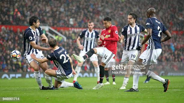 Manchester United's Jesse Lingard makes a failed attempt at goal during the Premier League match at Old Trafford Manchester