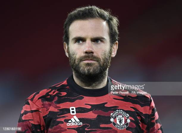 Manchester United's Juan Mata warming up before the Premier League match at Bramall Lane, Sheffield.