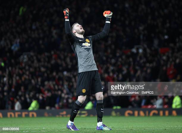 Manchester United's keeper David De Gea celebrates at the end of the game against Stoke City after his late saves to help win the match