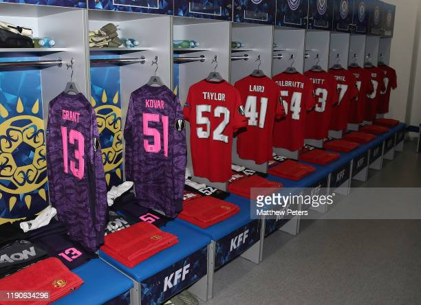 Manchester United's kit is laid out ahead of the UEFA Europa League group L match between FK Astana and Manchester United at Astana Arena on November...