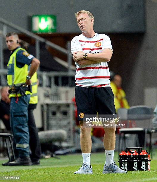 Manchester United's manager David Moyes is pictured during a friendly football match between AIK and Manchester United on August 6 2013 at the...