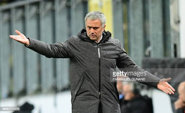Manchester United's manager Jose Mourinho reacts during the UEFA Europa League first leg quarter final football match between Anderlecht and...