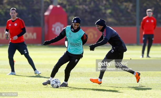 Manchester United's Marcus Rashford and Ashley Young during the training session at the AON Training Complex Carrington