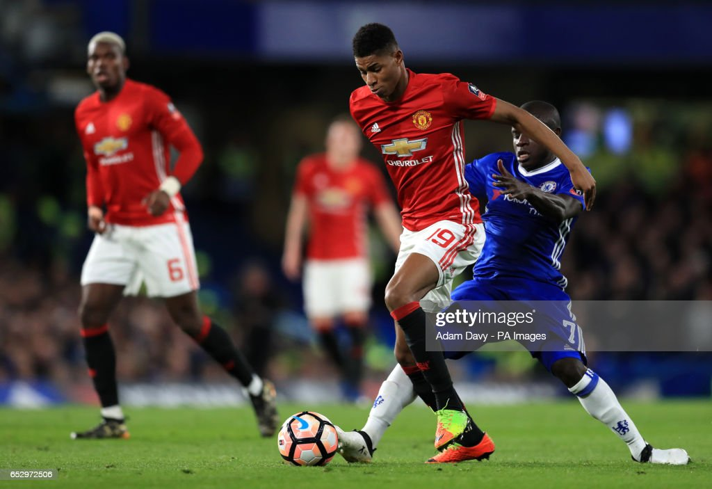 Manchester United's Marcus Rashford and Chelsea's N'Golo Kante battle for the ball during the Emirates FA Cup, Quarter Final match at Stamford Bridge, London.