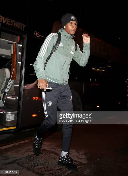 Manchester United's Marcus Rashford arrives for the Emirates FA Cup fourth round match at Huish Park Yeovil