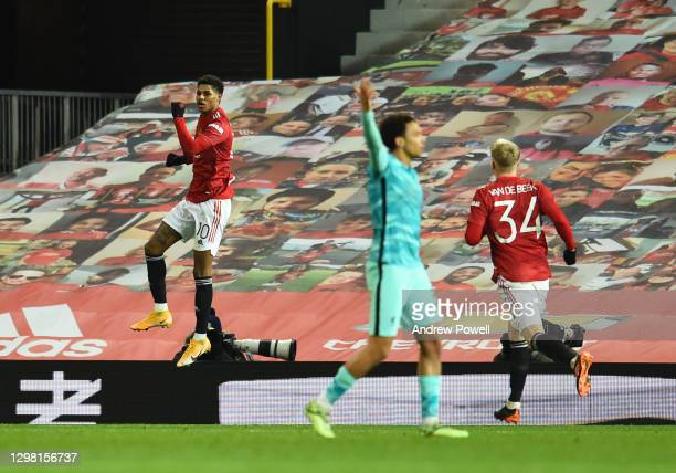 Manchester United's Marcus Rashford celebrates after scoring the second goal during The Emirates FA Cup Fourth Round match between Manchester United...
