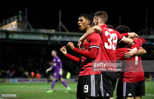 Manchester United's Marcus Rashford celebrates after teammate Ander Herrera scores his side's second goal of the game during the Emirates FA Cup...