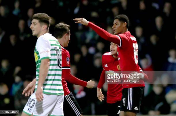Manchester United's Marcus Rashford celebrates scoring his side's first goal of the game during the Emirates FA Cup fourth round match at Huish Park...